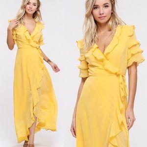 DESIREE Wrap Maxi Dress - MUSTARD